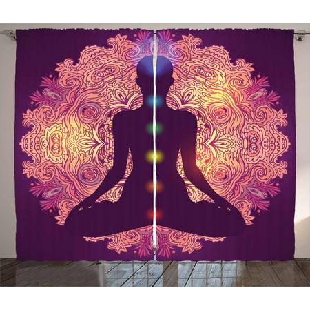 Chakra Curtains 2 Panels Set, Psychedelic Oriental Style Mandala ...