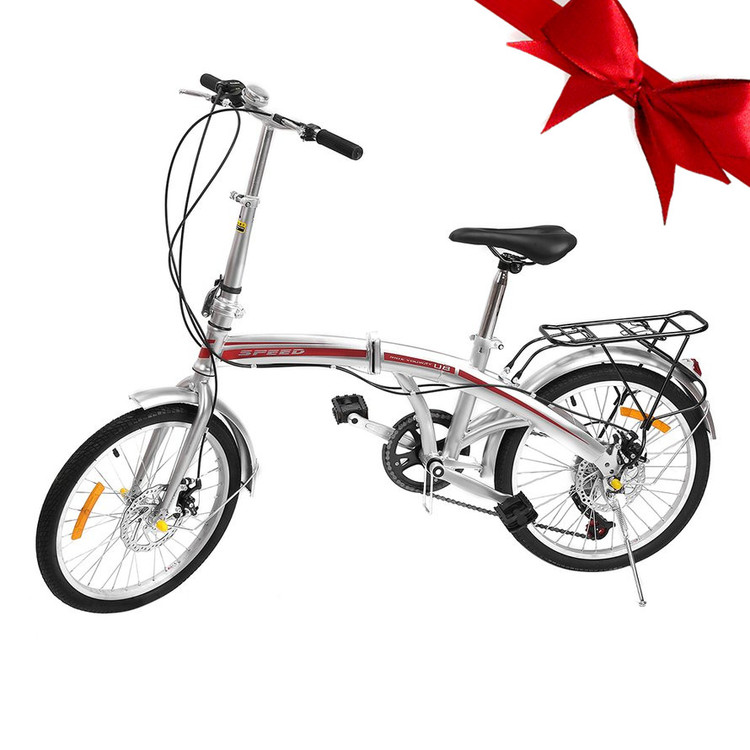 "20"" Variable Bike Folding Bike Folding Bicycle For Adult Men Women,Silver"