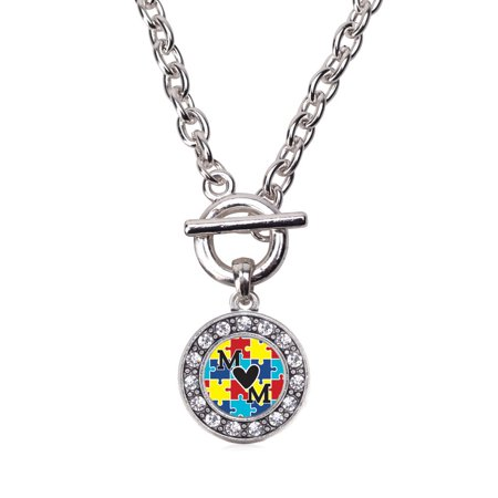Autism Mom Circle Charm Toggle Necklace