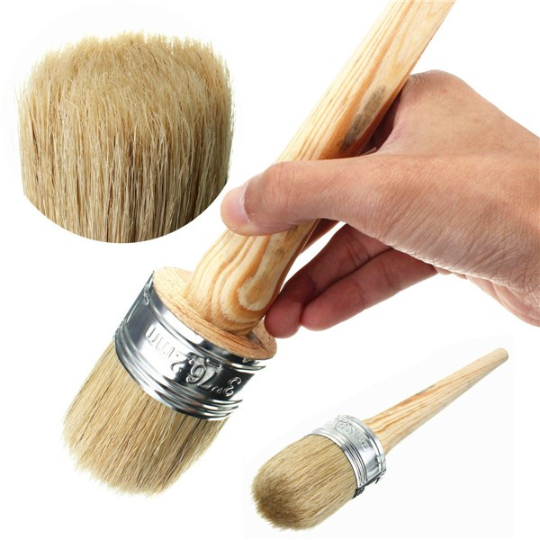 3PCS 50mm Wax Paint Wooden Handle Round Bristle Chalk Oil Painting Brush