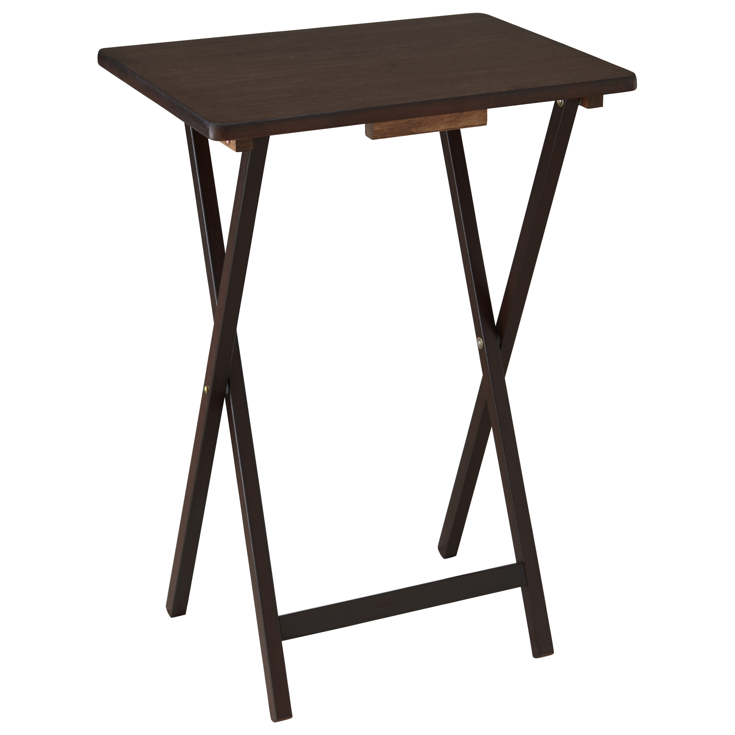 Mainstays 5Piece Folding Tray Table Set Walnut Walmartcom