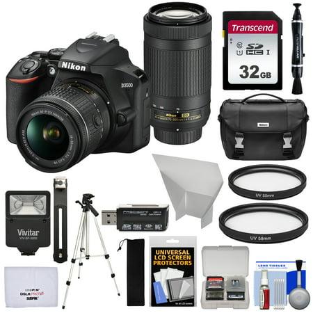 Nikon D3500 Digital SLR Camera + 18-55mm VR + 70-300mm DX AF-P Lenses with 32GB Card + Case + Flash + Tripod + Kit