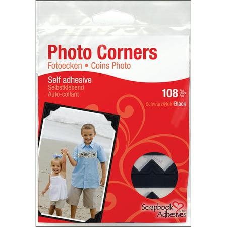 Scrapbook Adhesives Paper Photo Corners Self-Adhesive 108/Pk-Black