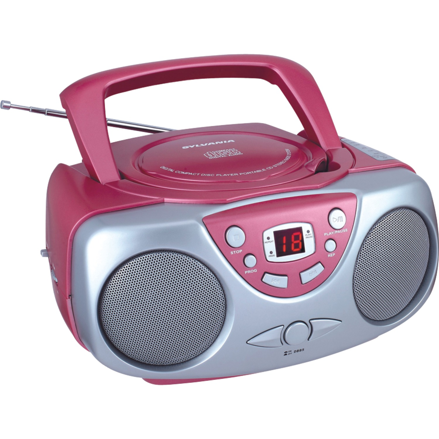 SYLVANIA SRCD243M Portable CD Boom Box with AM/FM Radio (Red)