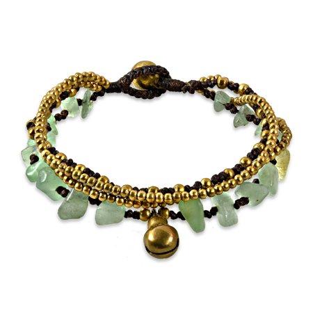 Green Aventurine Multi Strand Brass Beaded Handmade Jingle Bell Bracelet