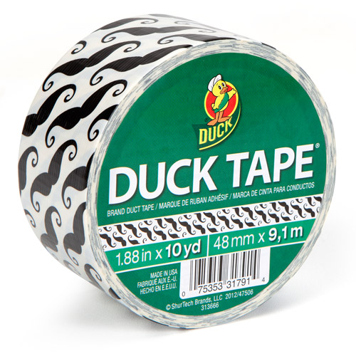 "Duck Brand Duct Tape, 1.88"" x 10 yard, Mustache"
