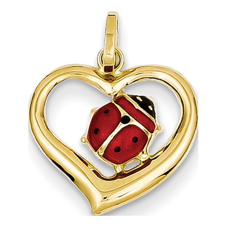 14k Yellow Gold Enameled Ladybug in Heart (14x18mm) Pendant / Charm