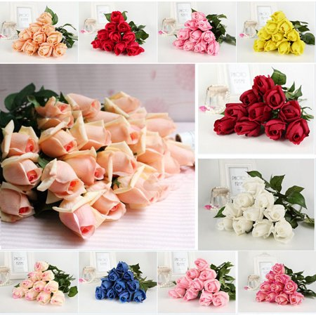 iMeshbean Artificial Colorful 20 Head Real Latex Touch Rose Flower Buds for Wedding Home Design & Bouquet Decoration (Blue) - Red Wooden Roses