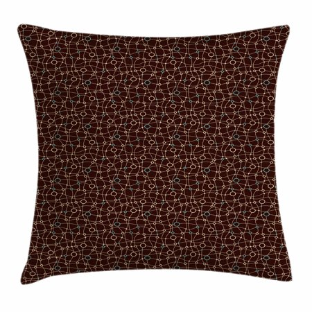 Brown and Blue Throw Pillow Cushion Cover, Mesh Net Pattern with Wavy Stripes and Circles Ring Shapes, Decorative Square Accent Pillow Case, 18 X 18 Inches, Brown Turquoise and Beige, by Ambesonne ()
