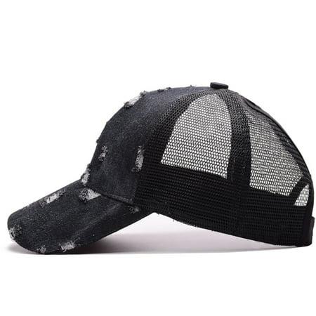 Broken Holes Denim Messy High Bun Denim Fabric Ponytail Baseball Hats Mesh  Adjustable Trucker Baseball Caps - Walmart.com 1294a152581