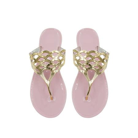 Sara Z Womens Jelly Patent Gold Metallic Thong Flip Flop Sandal Size 5/6 Blush/Gold