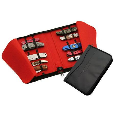 FOLDING KNIFE PROTECTOR CASE | Black Leather 15 Slot Collector Sheath Red Felt