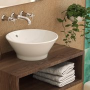 DecoLav Celena Classically Redefined Ceramic Circular Vessel Bathroom Sink with Overflow