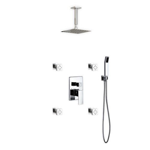 Superbe Kube Bath Aqua Piazza Rain Shower Head Complete Shower System
