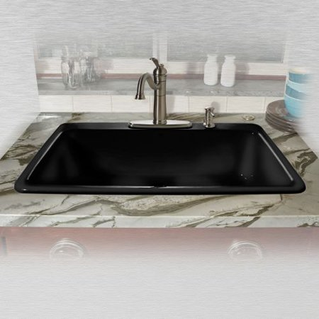 Miseno Mci53 4tm 33 Single Basin Drop In Cast Iron Kitchen Sink