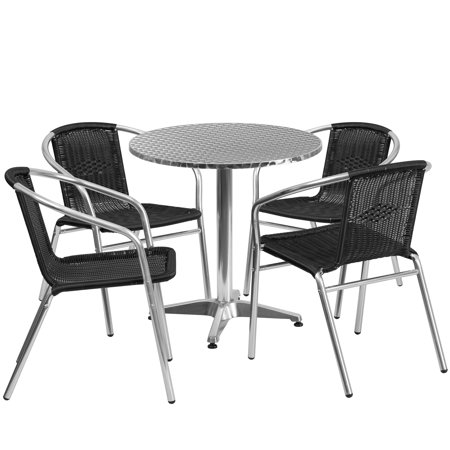 Flash Furniture Outdoor Patio Dining Set, Aluminum Table with 4 Rattan Chairs, Multiple Colors, Sizes and Shapes ()