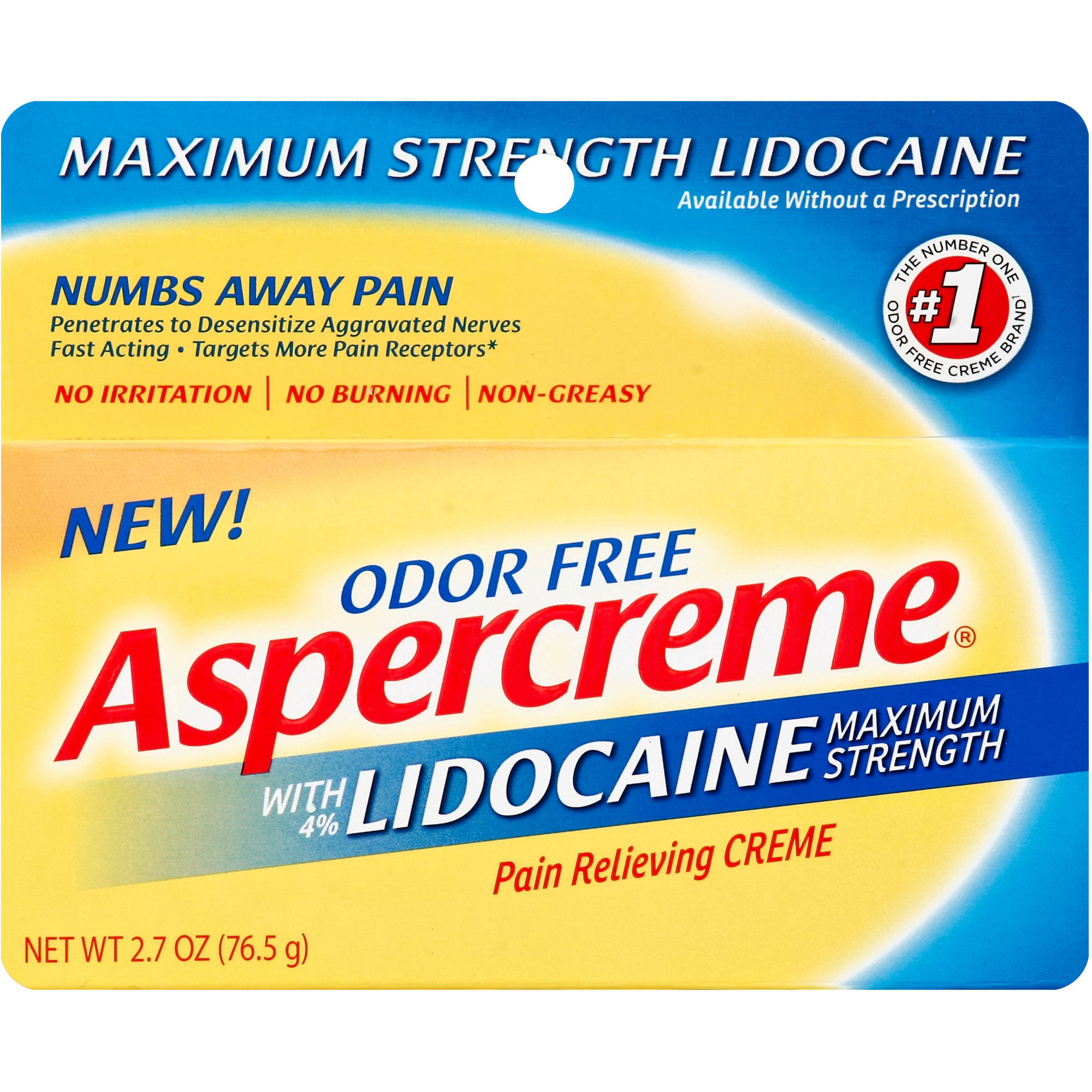 Aspercreme Maximum Strength with 4% Lidocaine Pain Relieving Creme, 2.7 oz