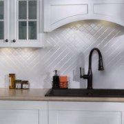 Fasade  Quilted Gloss White 18-square Foot Backsplash Kit