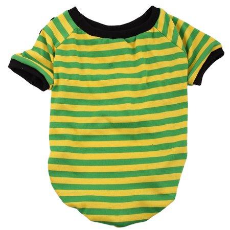 Pet Dog Cotton Blend Wear Coat Clothes T-shirt Apparel Costume Green Yellow XL