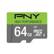 PNY U3 High Performance 64GB High Speed MicroSDXC Class 10 UHS-I, up to 60MB/sec Flash Memory Card (P-SDUX64U360G-GE)