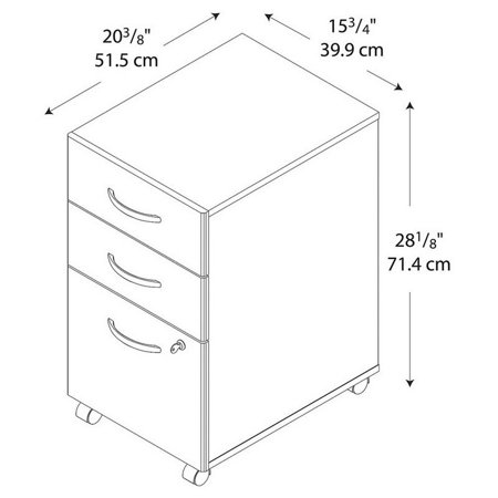 Bush Business Series C 3 Drawer Mobile File Cabinet In Auburn