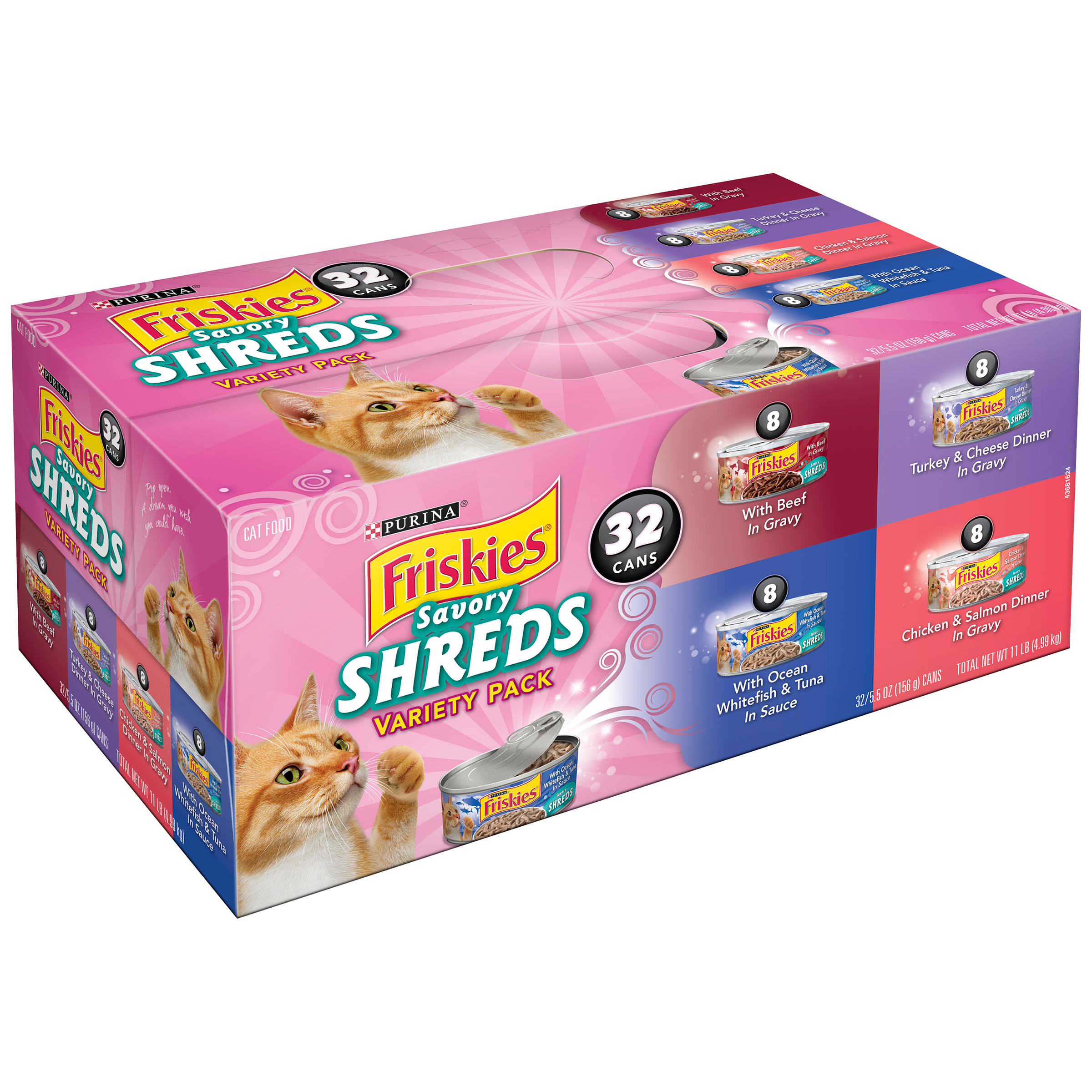 Purina Friskies Savory Shreds Cat Food Variety Pack 32-5.5 oz. Cans