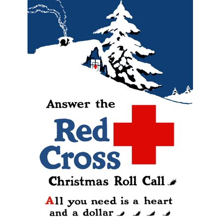 World War I Poster Showing a Snow Covered Cabin with a Red Cross Sign in Window Print Wall Art By Stocktrek