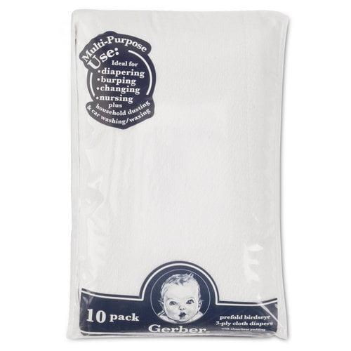 Gerber 10pk Prefld Birdseye Diaper W/pad