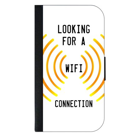 Looking for a Wifi Connection - Wallet Style Cell Phone Case with 2 Card Slots and a Flip Cover Compatible with the Apple iPhone 4 and 4s