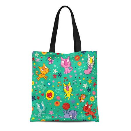Cute Reusable Grocery Bags (LADDKE Canvas Tote Bag Green Kids Cute Kittens Pattern Cartoon Cat Ball Butterfly Reusable Shoulder Grocery Shopping Bags)