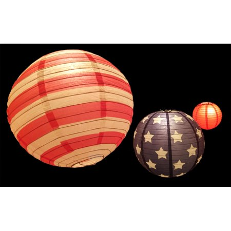 "Quasimoon 8/12/14"" 4th of July Red, White and Blue Round Paper Lanterns, Even Ribbing Set (3-PACK)"