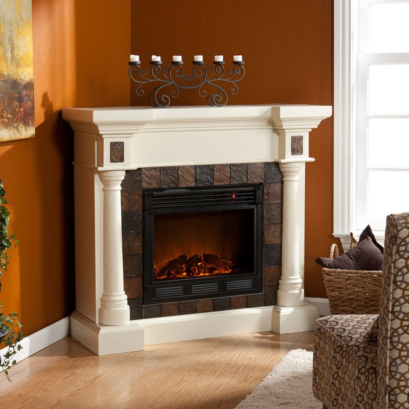 Southern Enterprises Carrington Faux Slate Convertible Ivory Electric Fireplace by Holly & Martin