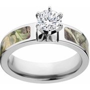AP Green Women's Camo Engagement Ring Cobalt and 14kt White Gold with Polished Edges and Deluxe Comfort Fit