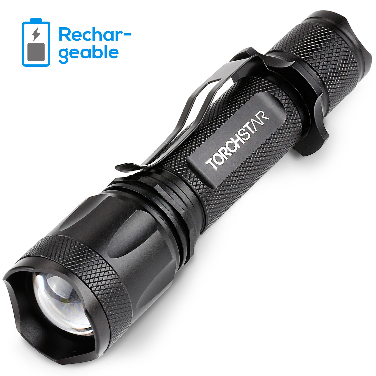 TORCHSTAR LED Tactical Flashlight, Ultra-bright Handheld Portable Flashlight, USB Rechargeable Flashlight, Skid-resistant Handgrip Flashlight, 5 Modes & Adjustable Focus Military Flashlight