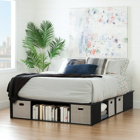 South Shore Flexible Black Oak Platform Bed With Storage