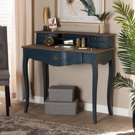 Baxton Studio Celestine French Provincial Blue Spruce Finished Wood Accent Writing Desk (French Writing)