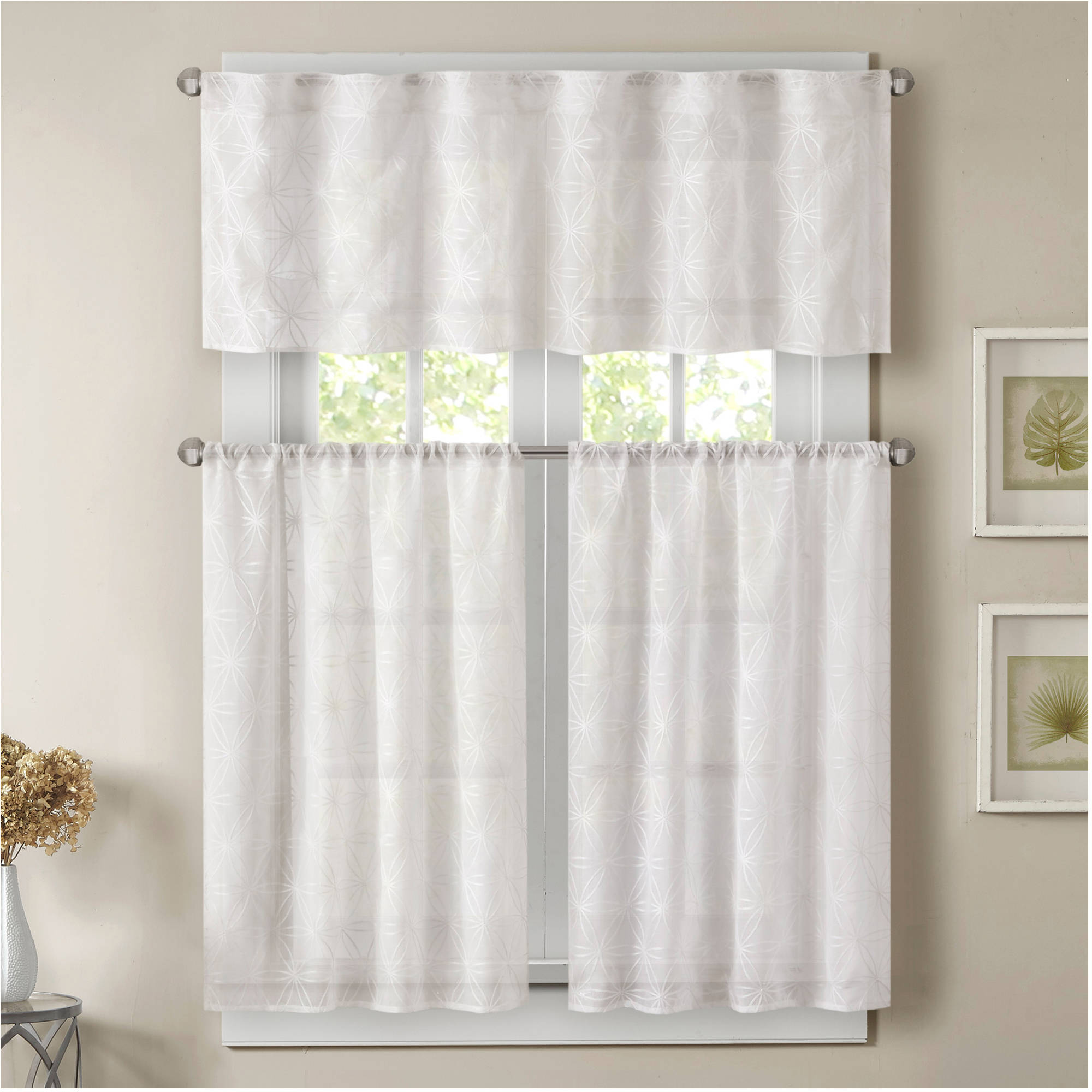 Home Essence Vera Sheer Embroidered Kitchen Curtain