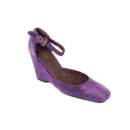 Car Shoe By Prada Purple Suede Wedge Ankle Strap Pumps