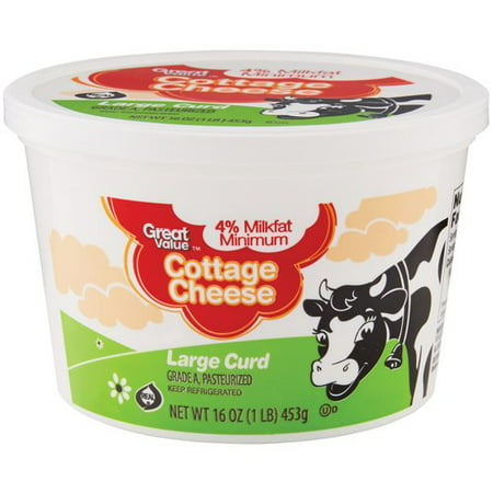 Great Value Large Curd Cottage Cheese 16 Oz Walmart Com