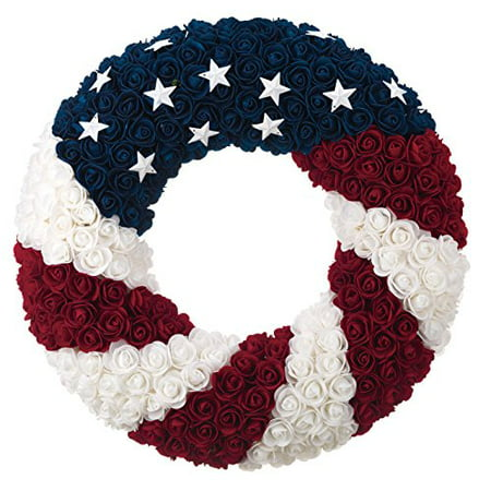 July 4th Wreaths (Patriotic Wreath 21 Inch Diameter, Roses and Stars, Red White and Blue 4th Of July)