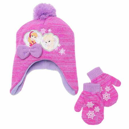 3e828aeb50a66c Frozen - Frozen Toddler Girls Elsa & Anna Knit Trapper Peruvian Hat &  Mittens Set - Walmart.com