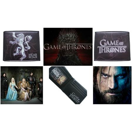"Superheroes Game of Thrones Lannister House Crest Lion Logo ""Hear Me Roar"" Bi-fold Mens Boys Wallet with Gift Box"
