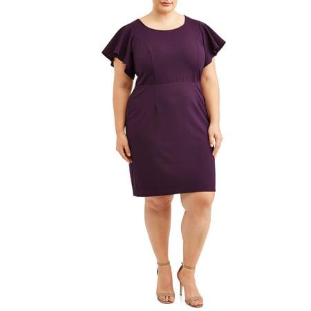 Women's Plus Size Flutter Sleeve Dress