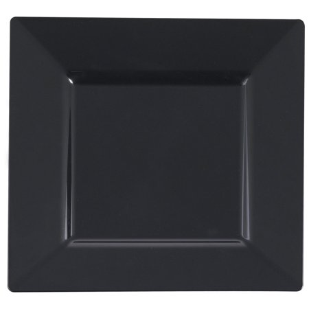 Plastic 10 3/4 Inch Black Square Dinner Plate/Case of 120 - Black Plastic Dinner Plates