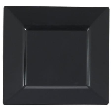 Plastic 10 3/4 Inch Black Square Dinner Plate/Case of 120](Black Plastic Dinner Plates)