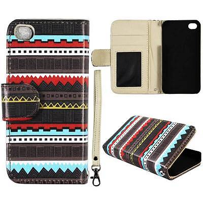 For Apple Iphone 4 , 4S Wallet Black Aztec Syn Leather Folio Dual Layer Interior Design Flip PU Leather case Cover Card Cash Slots & Stand  Cover Cell