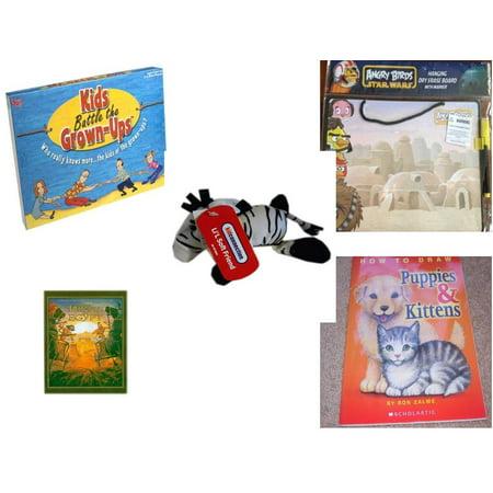 Children's Gift Bundle [5 Piece] -  Kids Battle the Grown-Ups  - Angry Birds Star Wars Dry Erase Board w/ Marker  - Dan Dee Kid Connection Lil Soft Friend Zebra   5