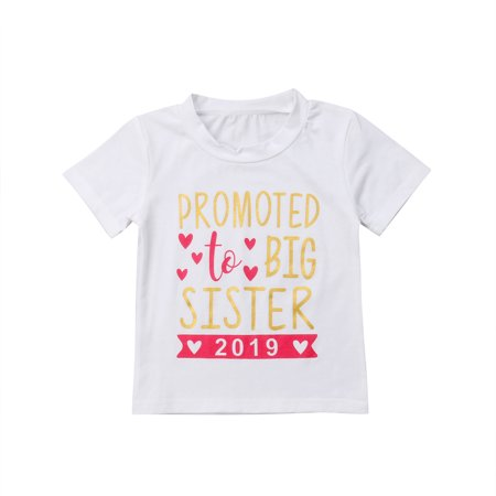 Kids Baby Girls 2019 T-shirt Toddler Big Sister Cotton Shirts Tops Clothes Tees Short Sleeve 2-3