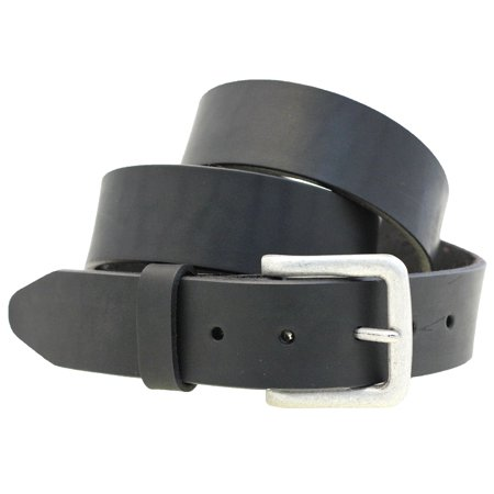 Mens 1 1/2 Plain Black Latigo Leather Belt Old Silver Buckle Made In - Made Black Leather