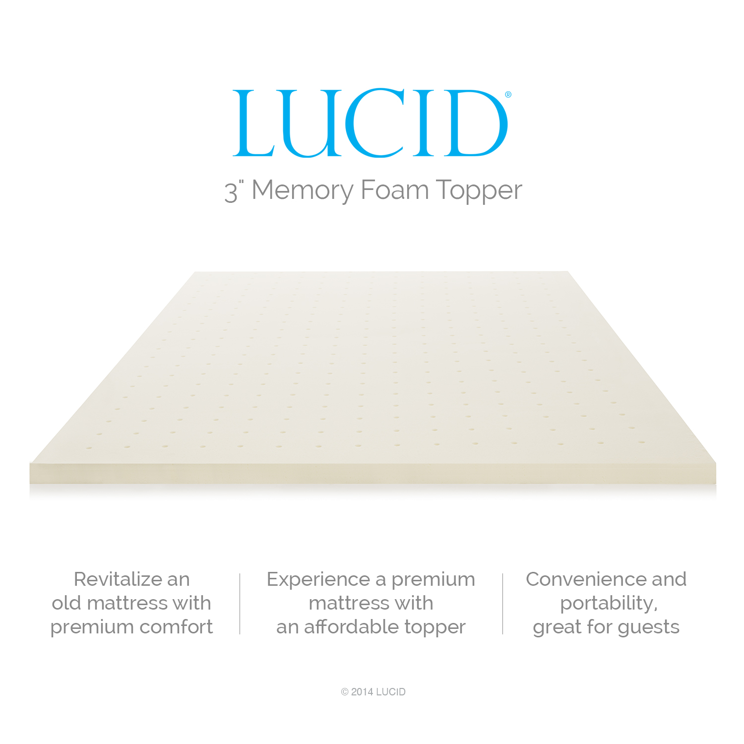 "Lucid 3"" Plush Ventilated Memory Foam Mattress Topper, Multiple Sizes -  Walmart.com"